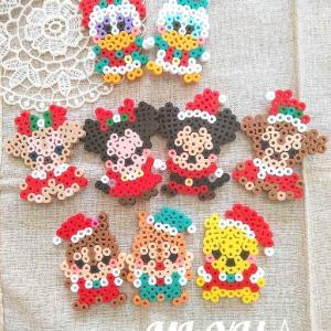 アイロンビーズ☆クリスマスディズニー!プーさん、チップ&デール