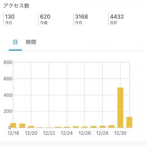 【開始1ヶ月】12月3000pv達成!アフィ1500円♥読者数110御礼