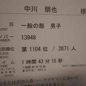 大阪ハーフの完走証届く