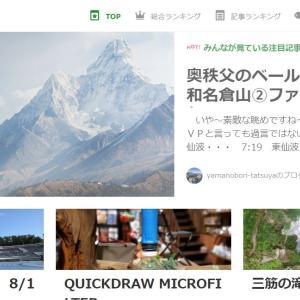 ブログ「和名倉山」レポが記事ランキング1位に