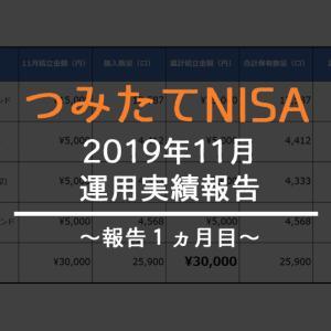 【2019年11月】つみたてNISA(積立NISA)の運用実績をご報告!【1ヵ月目】