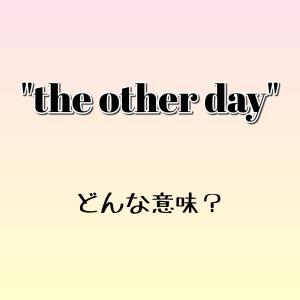 """the other day"" ってどんな意味? ゼロから英語学習!!"
