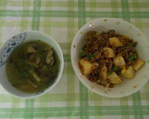 ひき肉のカレー炒め&きのこスープ