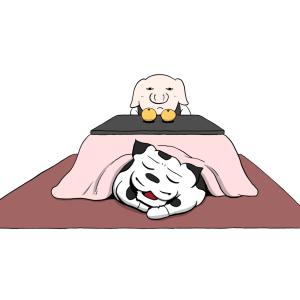 コタツとウシオとブ野(サボり)(寒くて動けない)