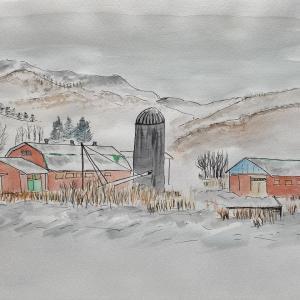 寿都郡 冬の牧場