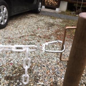 東吉野ログ生活71日目・駐車場にチェーンを張る