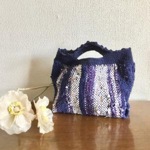 咲きおりで「裂織り」 バッグインバッグが出来ました。