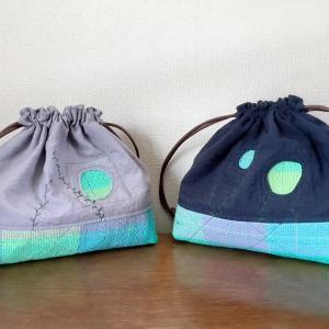 プルオーバーとお揃いでハメハメ葉っぱの巾着も作れるキットです。