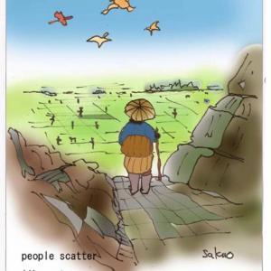 issa's haiku with digital tools (people scatterlike ants…the lark sings)人は蟻と打ちらかって鳴雲雀 小林一茶(iPad絵=中村 作雄、英訳=David Lanoue)