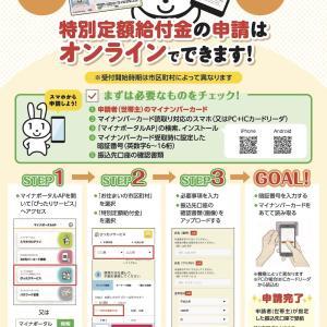 特別定額給付金(給付対象者1名10万円)をマイナンバーカードを使ってオンライン申請しました。
