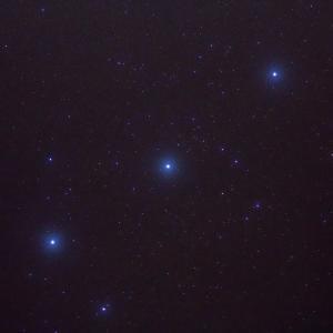 「オリオン座三ツ星」の撮影 2020年9月17日(機材:コ・ボーグ36ED、スリムフラットナー1.1×DG、E-PL5、ポラリエ)