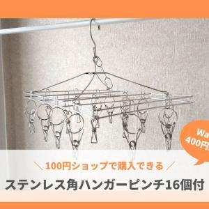 100均で購入できる!ステンレス製、角型ピンチハンガー16個付がお得でおすすめ!