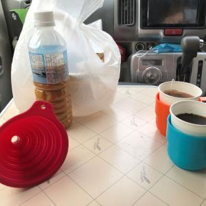 エブリィワゴンで車中メシ、カップラーメンの汁!