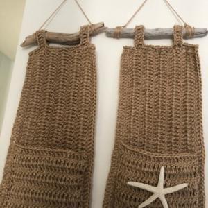 かぎ針編み麻紐でウォールポケット☆彡