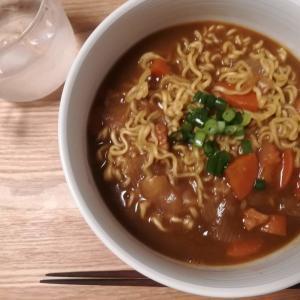 カレーラーメンは韓国のサリ麺で!麺にカレーがよく絡みます