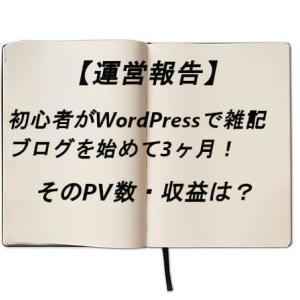 【運営報告】初心者が雑記ブログ開設して3ヶ月!PV数や収益を公開します。