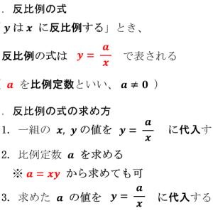 中学数学:反比例(要点)