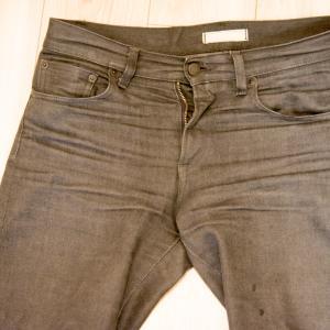 ユニクロのセルビッジジーンズに洗濯のりをつけて育てる実験