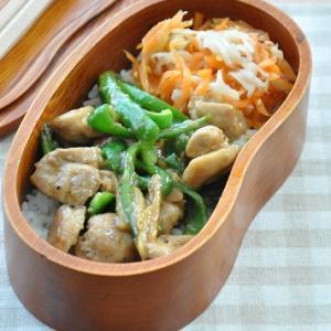 【簡単10分弁当】ごはんにあうコク旨味♪鶏肉とピーマンの甘みそ炒め弁当