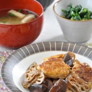 豆腐でかさまし!鶏だんごとれんこんの照り焼きがメインの献立