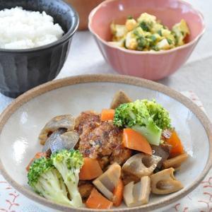 根菜でボリューム感が出る◎根菜と肉だんごの甘酢炒めの献立