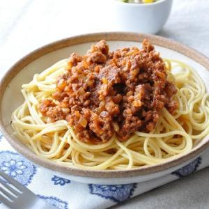 フライパン一つで♪手軽に作れるミートソーススパゲティがメインの献立