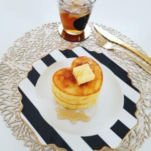 DAISOのシリコン型でハートのパンケーキ♡