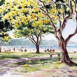 134  Praia de Bertioga  30x40 aquarela  砂古さんの新しい