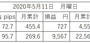 5月の累計は自動売買①が455.4pips、自動売買②が269.6pipsとなっておりますが、ロットが小さくてちょっと残念です。