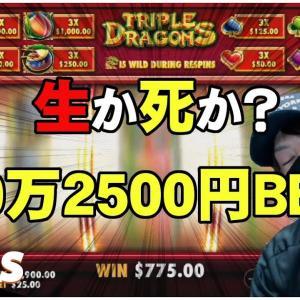 🔥【玉砕覚悟】50万!25ドルベットで激闘【【オンラインカジノ】【TRIPLE DRAGON】【Slotty VEGAS kaekae】