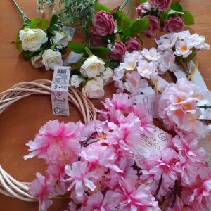 100均の造花で桜のリース作ってみた