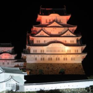 街のネオンと共に輝く夜の『姫路城』のライトアップを見に行く