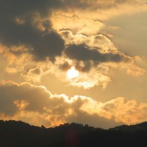 夏の空と鳥たち5(日没と雲と影)