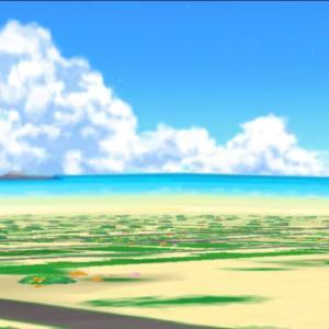 一足先に夏の雲……「ドラクエウォーク」の画面上はとても暑そうです