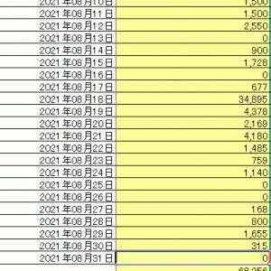 8月分家計簿まとめ完了……今月は流石に10万円以下とは行きませんでした