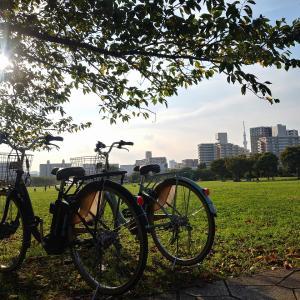 奥様とのサイクリングを楽しむ……やはり自転車2台あると外出が楽ですね