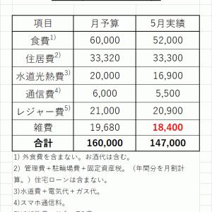 2021年5月の生活費は14.7万円。年間の総支出は177.3万円。