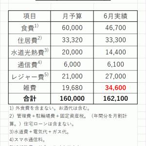 2021年6月の生活費は16.2万円。年間の総支出は216万円。