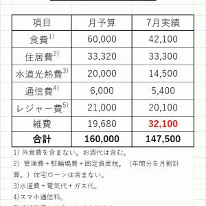 2021年7月の生活費は14.8万円。年間の総支出は248万円。