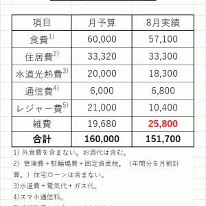 2021年8月の生活費は15.2万円。年間の総支出は281万円。