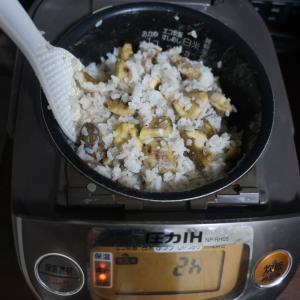 新米の栗ご飯を炊きました