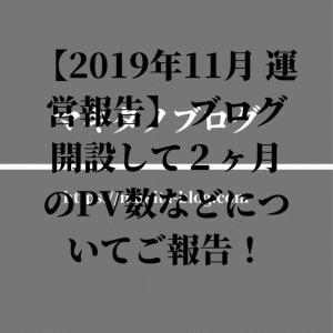【2019年11月 運営報告】 ブログ開設して2ヶ月のPV数などについてご報告!