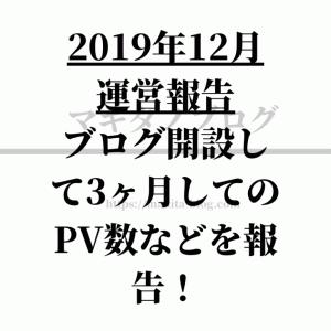【2019年12月 運営報告】ブログ開設して3ヶ月してのPV数などを報告!