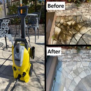 【高圧洗浄Before&After】庭のタイル・乱形石・外壁・ウッドデッキ・窓サッシにこびりついた汚れを一掃!!