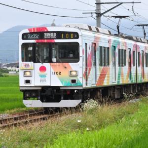 撮り鉄 日本遺産認定1周年記念・ 別所線開業100周年記念・・・ ☆別所線の新しいラッピング車両を撮影しました 7月8日