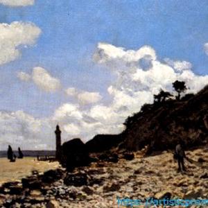 印象派誕生前のモネの絵画!クロード・モネ作「オンフルールの海岸」|ブリジストン美術館「モネ展」より