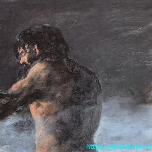 本人の作品か不明?ゴヤ、フランシスコ・デ作「巨人」|国立西洋美術館「スペイン王室コレクションの美と栄光 プラド美術館展」より