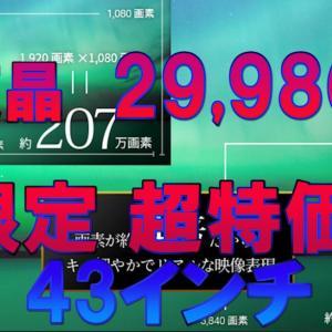 雑記 43インチ IPS 4K液晶 限定 29,980円 の超特価!