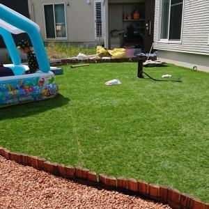DIYで庭の人工芝張りに挑戦!!その4