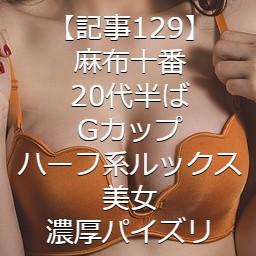 【記事129】麻布十番・20代半ば・Gカップ・ハーフ系ルックス美女・濃厚パイズリ